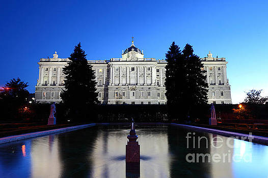 James Brunker - Madrid Royal Palace and Sabatini Gardens at Blue Hour