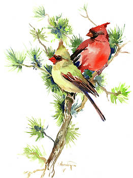 Mae and Female Cardinal Birds by Suren Nersisyan