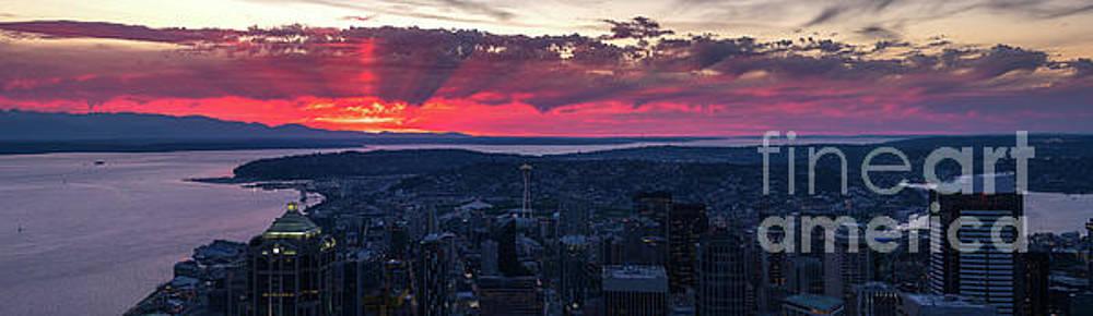 Magenta Sunrays Sunset Seattle Panorama by Mike Reid
