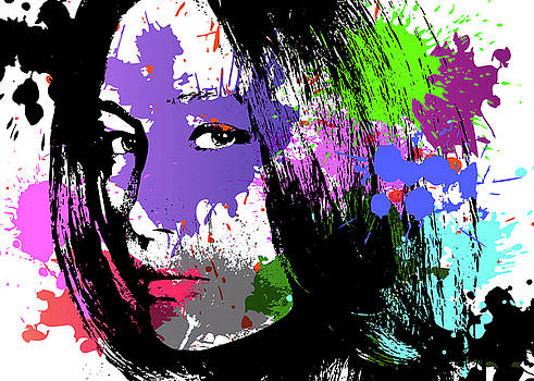 Maggie Q Pop Art by Ricky Barnard
