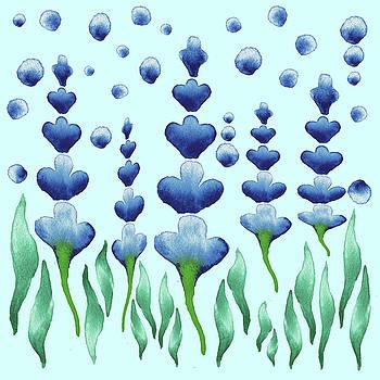 Irina Sztukowski - Magic Watercolor Flower Garden In Baby Blue