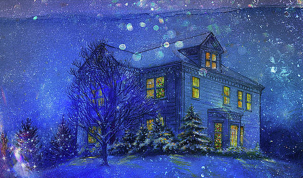Magical Blue Nocturne Home Sweet Home by Judith Cheng
