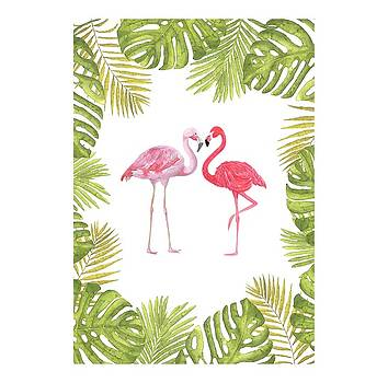 Magical Tropicana Love Flamingos and Leaves by Georgeta Blanaru