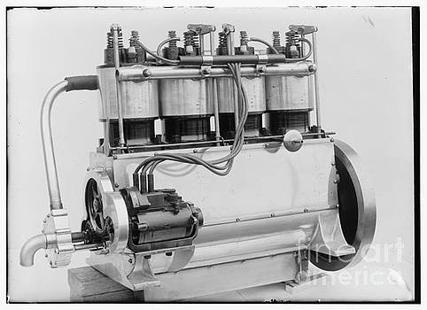 R Muirhead Art - Magneto side of the Wright four cylinder motor used in 1911
