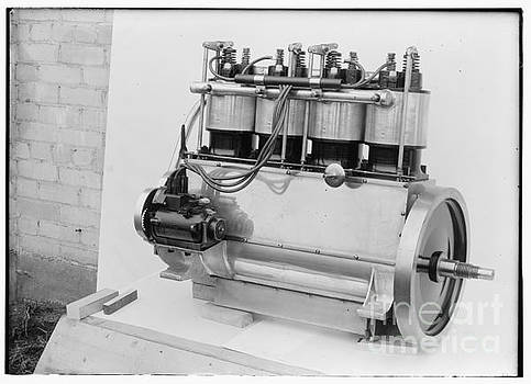 R Muirhead Art - Magneto side of the Wright four cylinder motor used in 1911 view 2