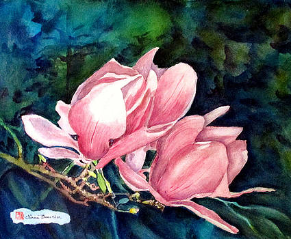 Magnolias in Blue by Norma Boeckler