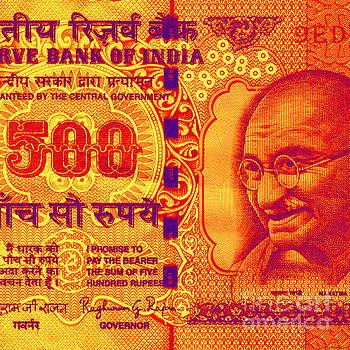 Mahatma Gandhi 500 rupees banknote by Jean luc Comperat