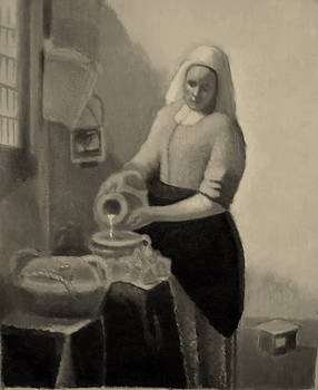 maid pouring milk studies of Vermeer by Robert Brooks