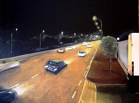 Main Road at the night by Luca Rinaldi