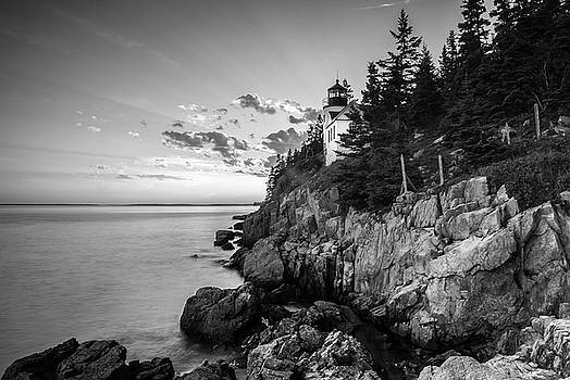 Ranjay Mitra - Maine Acadia Bass Harbor Lighthouse in Black and White
