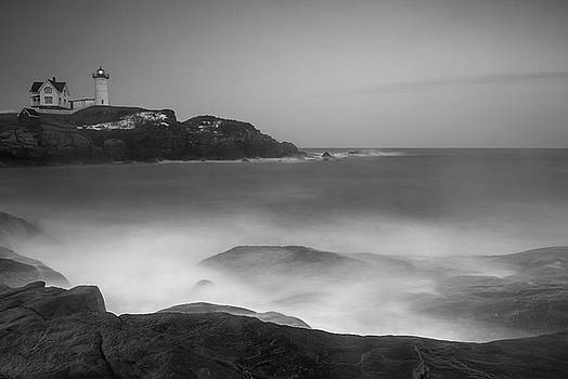Ranjay Mitra - Maine Cape Neddick Lighthouse and Rocky Coastal Waves BW