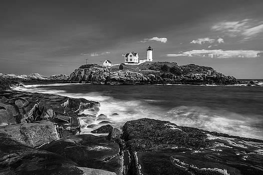 Ranjay Mitra - Maine Cape Neddick Lighthouse in BW