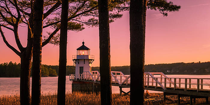 Ranjay Mitra - Maine Doubling Point Lighthouse at Sunset Panorama