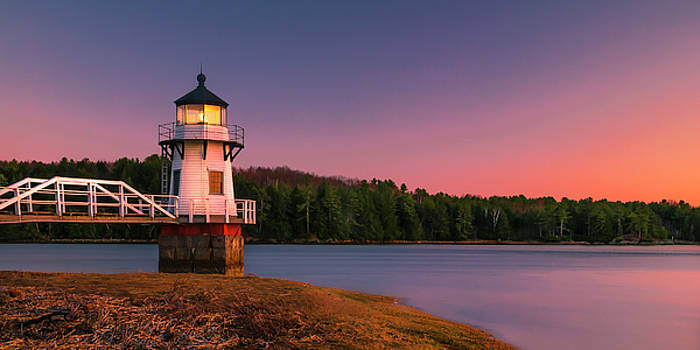 Ranjay Mitra - Maine Doubling Point Lighthouse in New Brunswick on Kennebeck River Sunset