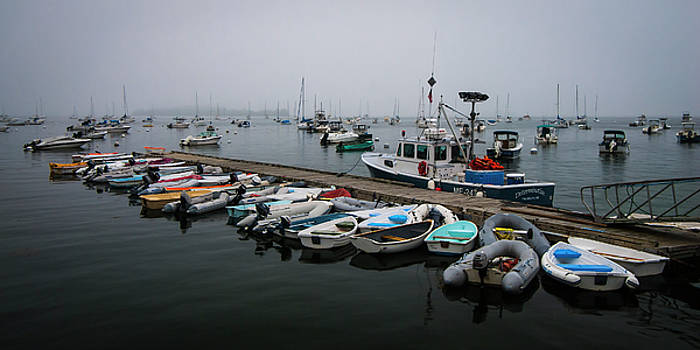 Ranjay Mitra - Maine Falmouth Boat Landing on Misty Morning Panorama