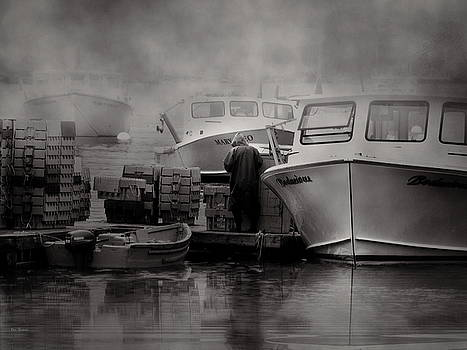 Maine Fog and Fisherman by Bob Orsillo
