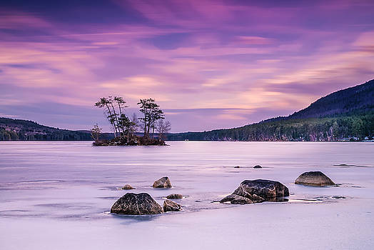 Ranjay Mitra - Maine Iced Moose Pond in Winter Sunset