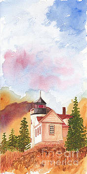 Maine Lighthouse in Morning Light by Conni Schaftenaar