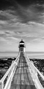 Ranjay Mitra - Maine Marshall Point Lighthouse Vertical Panorama in Black and White