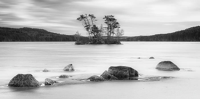 Ranjay Mitra - Maine Moose Pond in Winter filled with Snow and Ice Panorama
