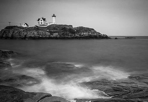 Ranjay Mitra - Maine Nubble Lighthouse and Rocky Shores in BW