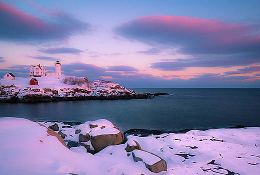 Ranjay Mitra - Maine Nubble Lighthouse in Winter Blue Hour