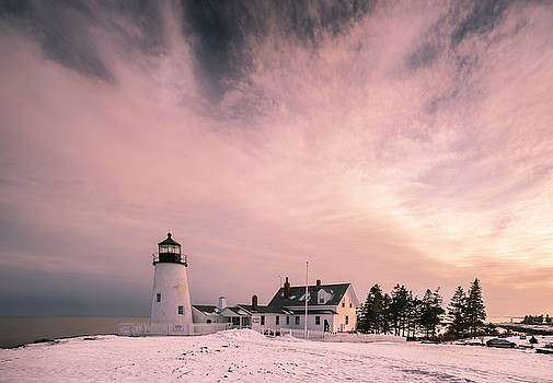 Ranjay Mitra - Maine Pemaquid Lighthouse Sunset after Winter Storm
