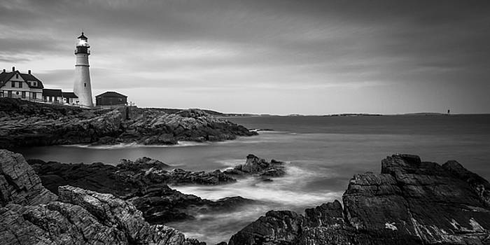 Ranjay Mitra - Maine Portland Headlight Ram Island Light BW Panorama
