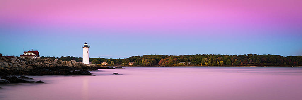 Ranjay Mitra - Maine Portsmouth Naval Base Lighthouse at Sunset Panorama