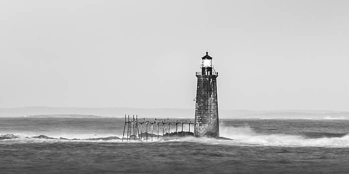Ranjay Mitra - Maine Ram Island Ledge Lighthouse and Windy Surf in BW Panorama