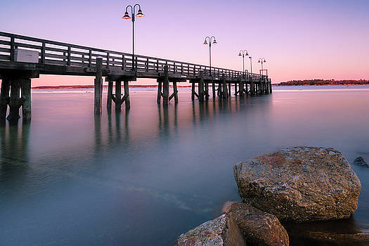 Ranjay Mitra - Maine Sunset over Yarmouth Fishing Pier and Boat Landing