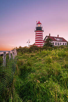 Ranjay Mitra - Maine West Quoddy Head Light at Sunset in Autumn