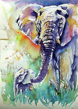 Majestic elephant with baby by Kovacs Anna Brigitta