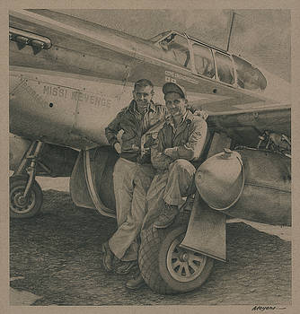 Major Edward McComas and Crew Chief 1944 by Wade Meyers