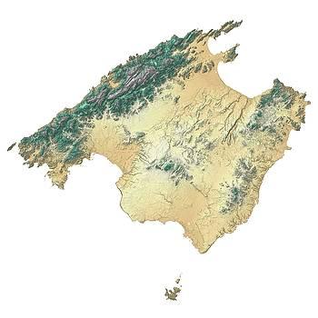 Majorca / Mallorca, Spain Terrain Map - Desert Sage by Ian Grasshoff