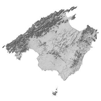 Majorca / Mallorca, Spain Terrain Map - Gray by Ian Grasshoff