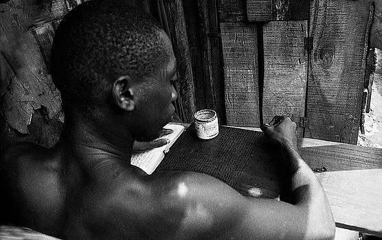 Muyiwa OSIFUYE - Quoranic verses on wooden tablet - H