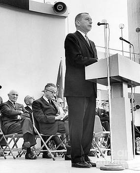 Malcolm Wilson inaugurates festivities of New York State Day at the NY State Pavilion in 1965. by William Jacobellis