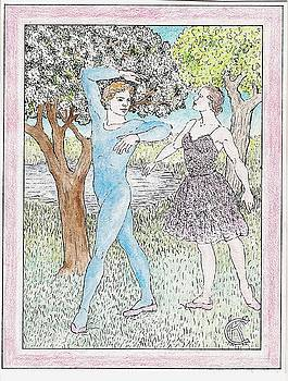 Male and Female Ballet Dancers Dance Among Flowering Trees by Catinka Knoth