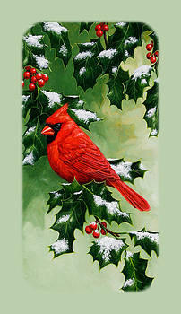 Crista Forest - Male Cardinal and Holly Phone Case