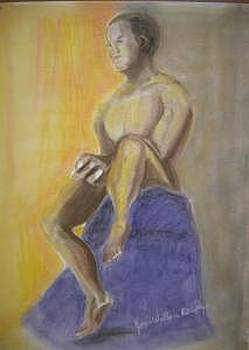 Male Figure Sitting Pose by Joan Wallace Reeves