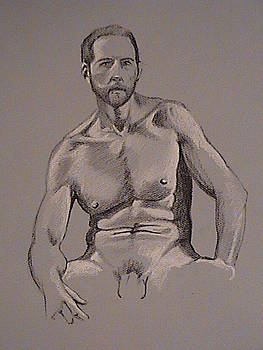 Male Nude on Blue by Kerry Burch