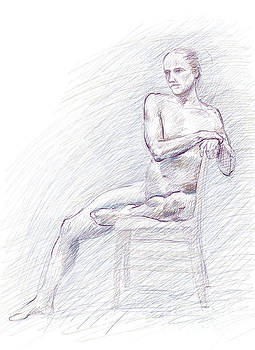 Adam Long - Male nude seated sideways on chair