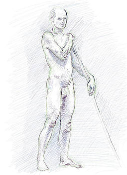 Adam Long - Male nude standing with wooden pole digital drawing