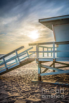 Malibu Lifeguard Tower #3 Sunset on Zuma Beach  by Paul Velgos