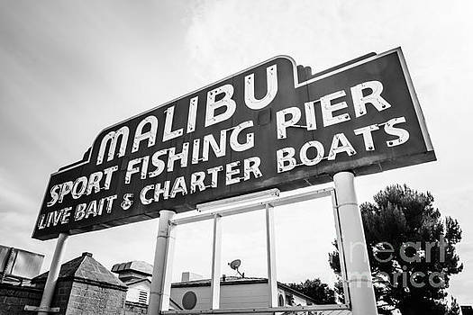 Paul Velgos - Malibu Pier Sign Black and White Photo