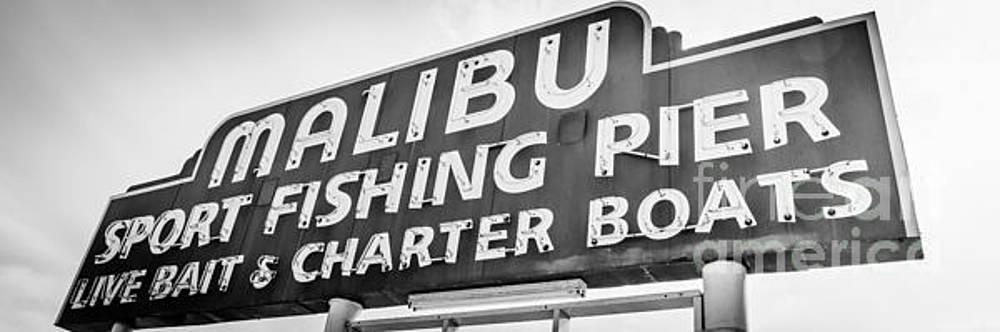 Paul Velgos - Malibu Pier Sign Panoramic Black and White Photo