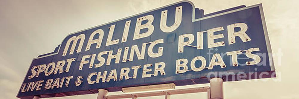 Paul Velgos - Malibu Pier Sign Retro Panorama Photo