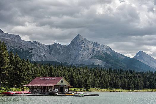 Maligne Lake and Boathouse by Dennis Kowalewski