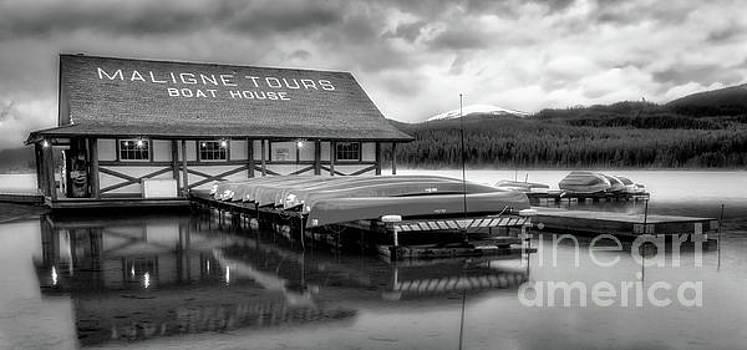 Maligne Lake Boathouse bw by Jerry Fornarotto
